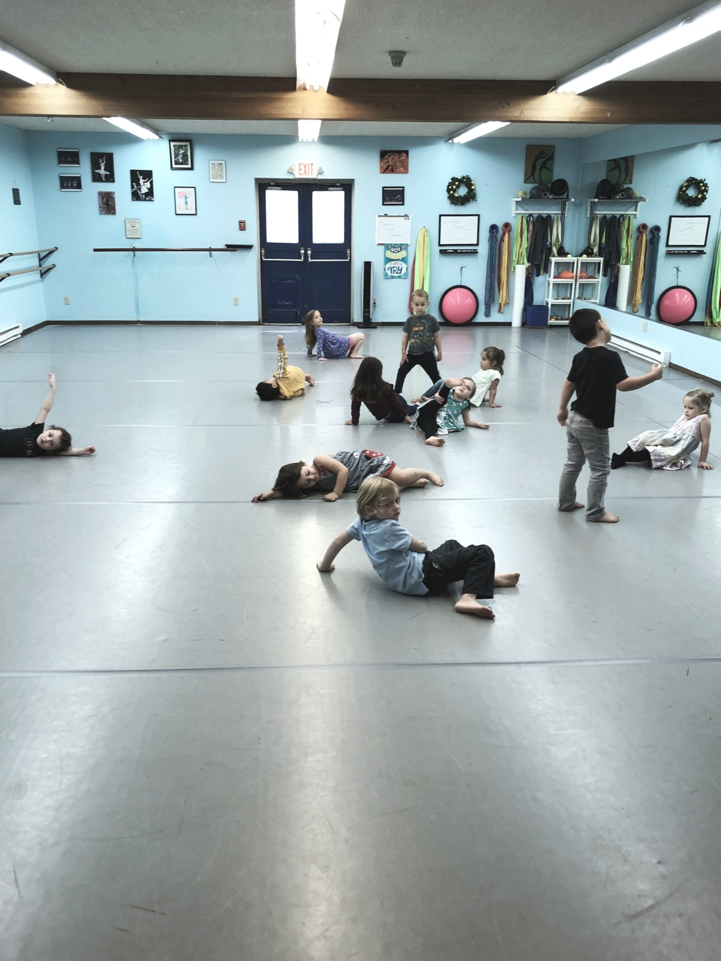 Mini Mozarts students enjoying free-form dance time in Liz's studio.