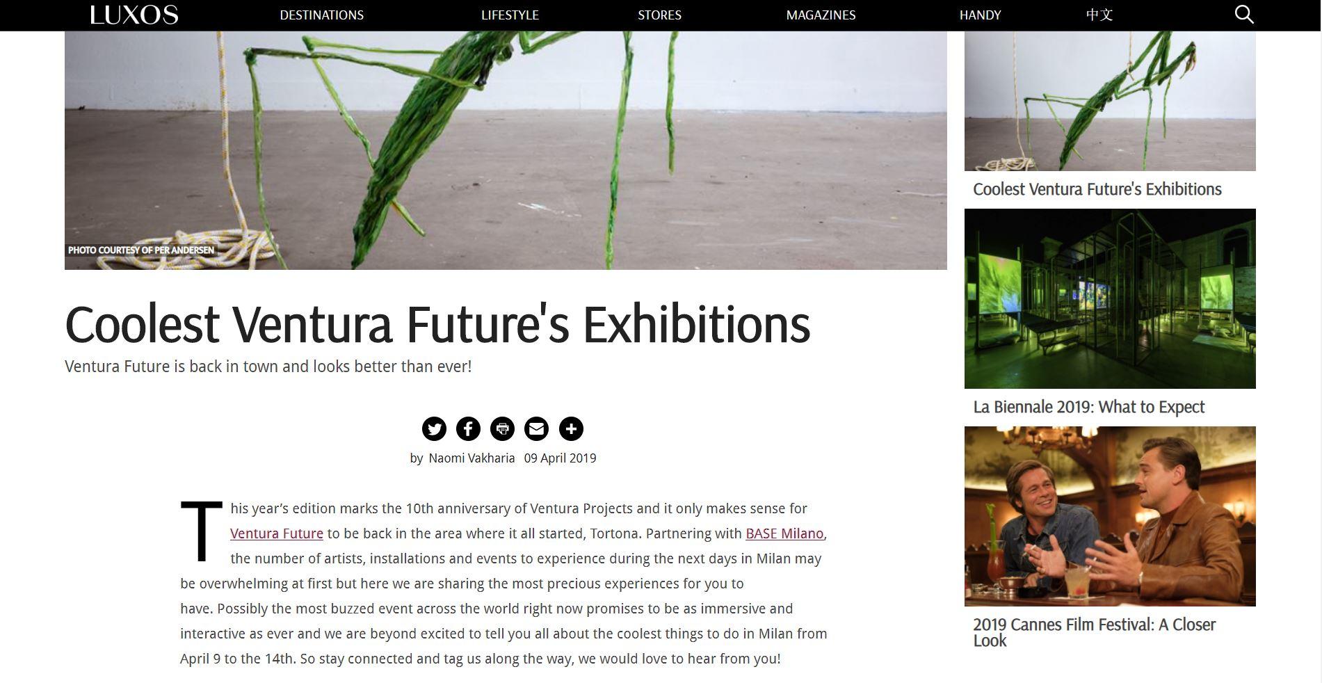 """Coolest Ventura Future's Exhibitions"" - April 2019, LUXOS"