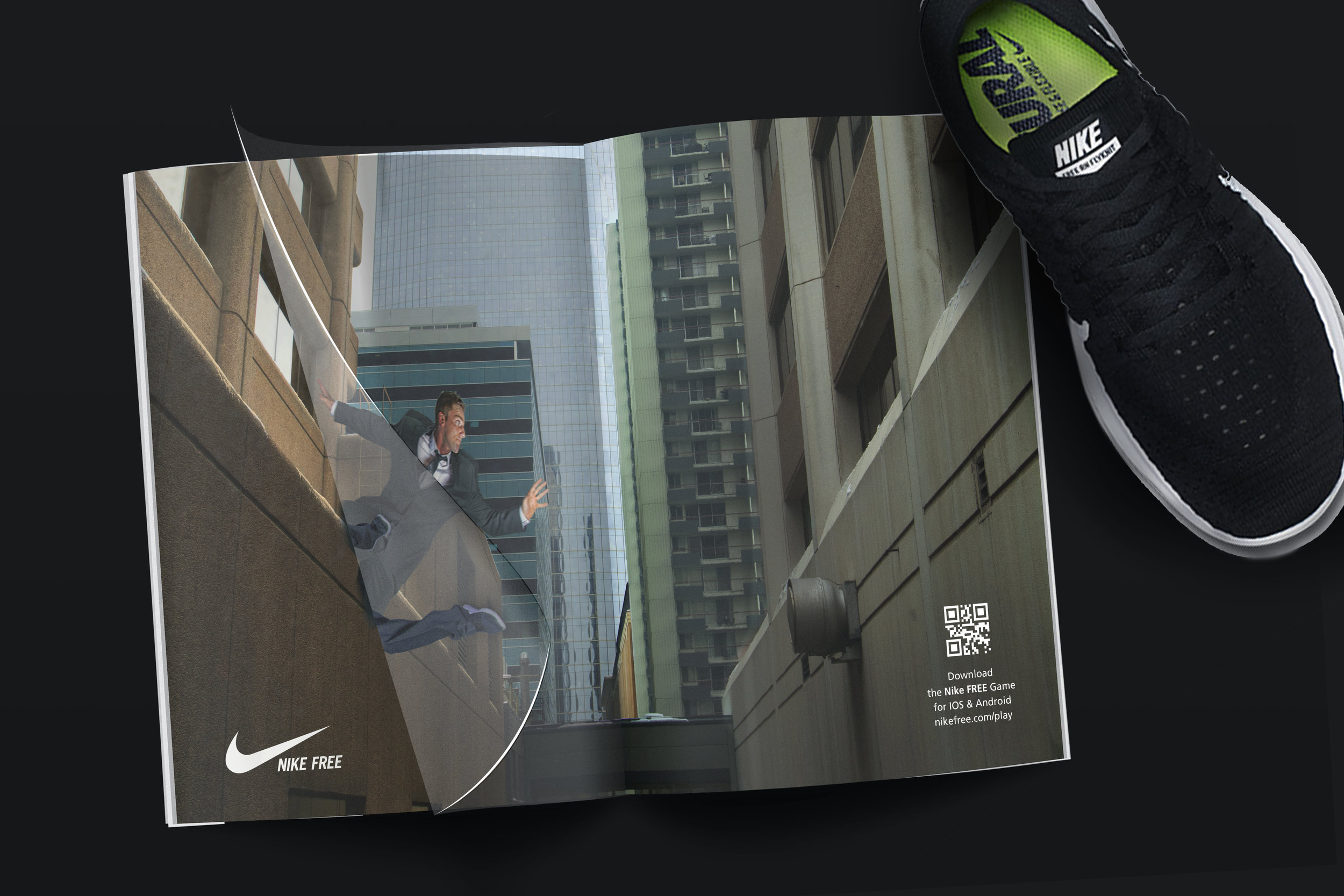 Magazine Spread:  This is a 2-Page spread, with a transparent sheet in between as shown in the video to simulate the act of parkour by jumping from building to building.