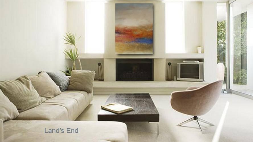 LAND'S END colorful abstract hung over fireplace commands attention.