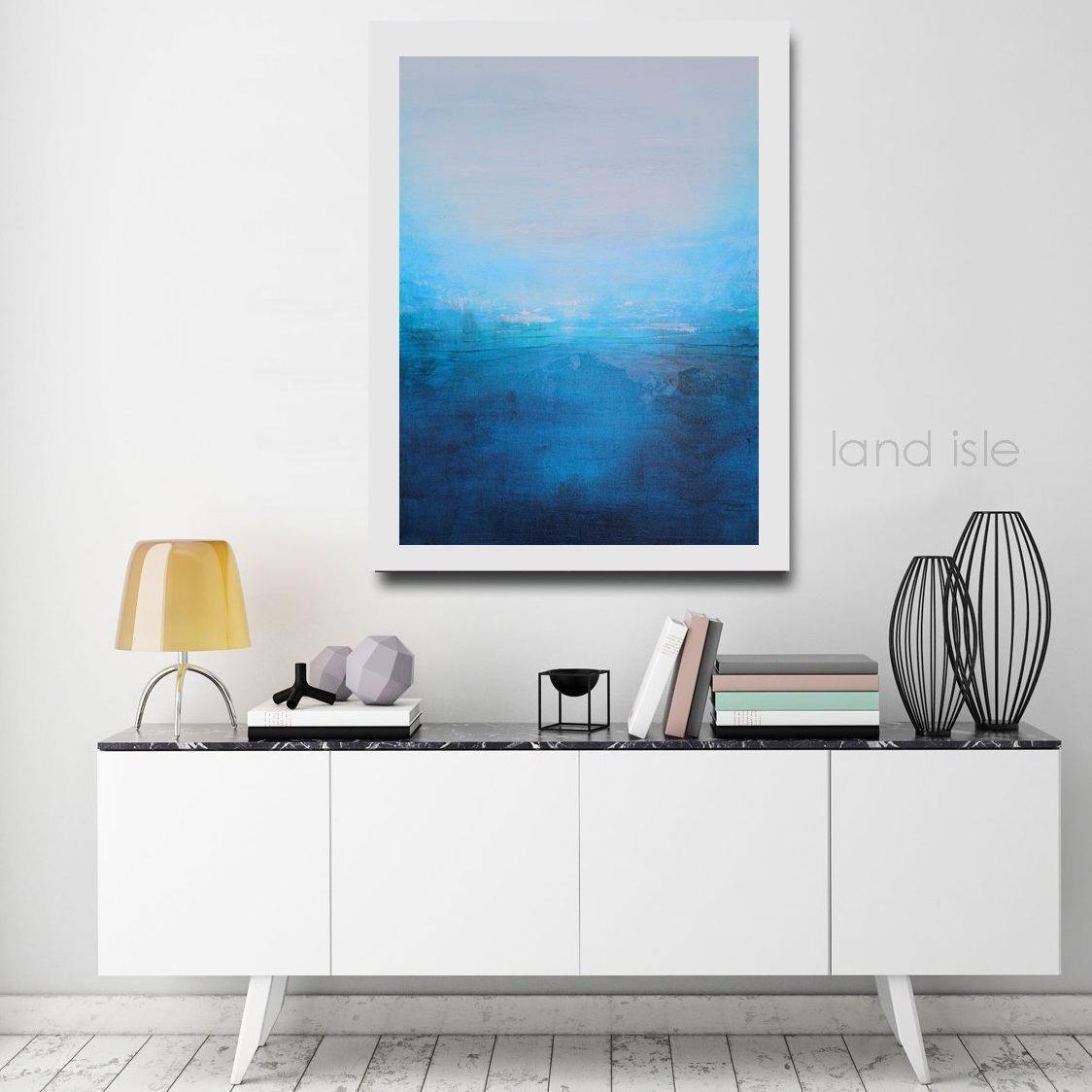 There is no missing this artwork when hung over a white credenza!