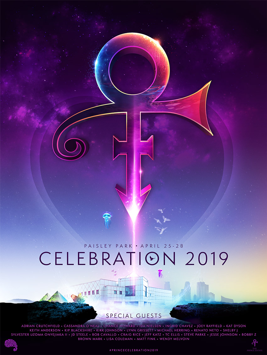 PRINCE CELEBRATION 2019 - I was incredibly honored to be asked by the Paisley Park Estate to be the featured artist for Prince Celebration 2019. This event was bittersweet, but the love everyone has for Prince will last forever. Merchandise and media buy was designed for this as well.