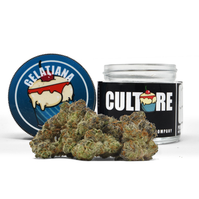 Culture Gelatiana Indoor 3.5g  22.55% THC 0.05% CBD   $55   This Bay Area, California native gets its name from the fruity, dessert-like aroma, a common genetic thread among the Cookie family. Her buds tend to bloom in dark purple hues illuminated by fiery orange hairs and a shining white coat of crystal resin. Novice consumers may want to approach this THC powerhouse with caution.