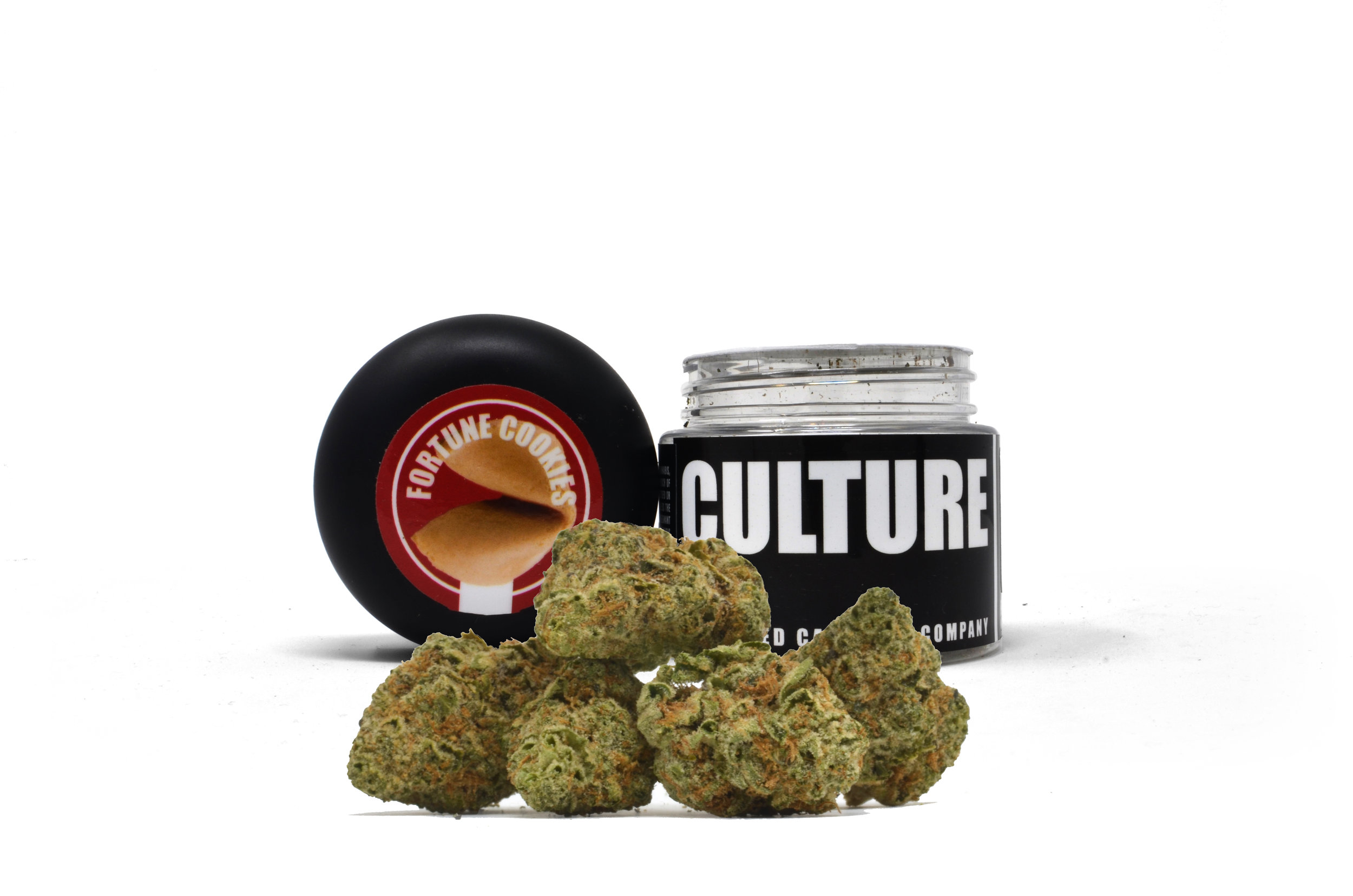 """Culture Fortune Cookies Indoor 3.5g    $50   Fortune Cookies is a hybrid cannabis strain that combines the famed genetics of Girl Scout Cookies and OG Kush in a potent mix of earthy, honeyed flavors. This hybrid can hit hard in larger doses, pushing past the confines of a subtle buzz into the weighty """"couch-lock"""" effects typically associated with indica strains."""