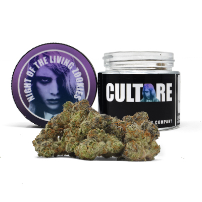 Culture Night of the Living Zookies Indoor 3.5g 25.39% THC 0.05% CBD   $55   They keep coming back in a bloodthirsty lust for BUuuuUUUDDsssss! Classic Zookies strain with a Night of the Living Dead twist.