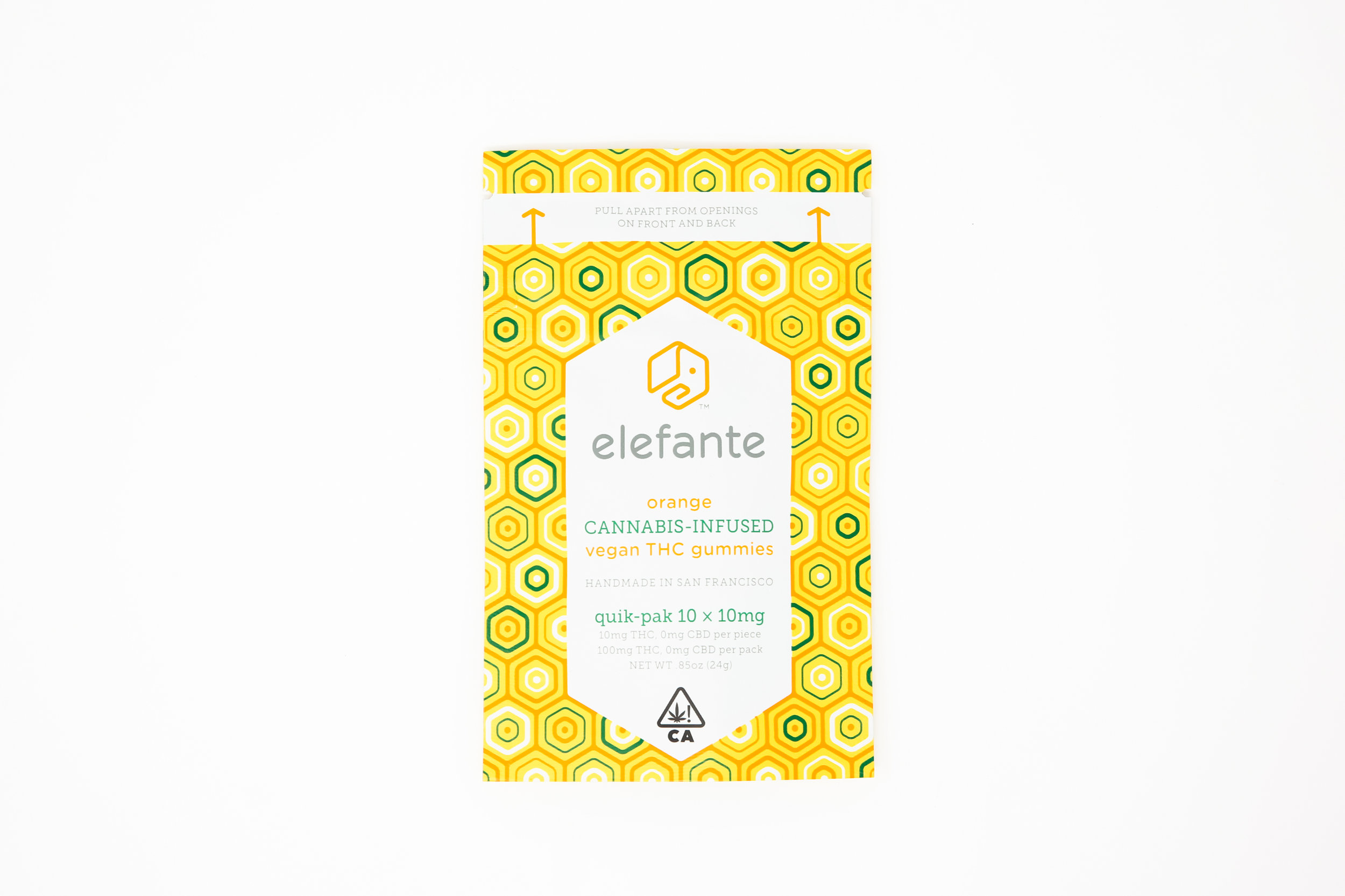 Elefante Quik-Pak Orange 10x10mg  100mg Total THC   Our Orange gummies combine our premium THC distillate with the anxiety reducing and anti-oxidant effects of citrus sinensis oil and the immune boosting effects of Vitamin C. Our fast-acting water-soluble formula allows for rapid absorption for maximum effectiveness with mouthwatering flavor.  Handcrafted using only organic vegan ingredients. Non-GMO and gluten free. Contains no artificial sweeteners, colors or flavors.