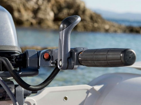 Ergonomic Tiller Handle:  A new ergonomic design has been introduced to the tiller handle, which is not only a more convenient length, but features a comfortable to use, forward mounted shift lever within easy reach and with better grip.
