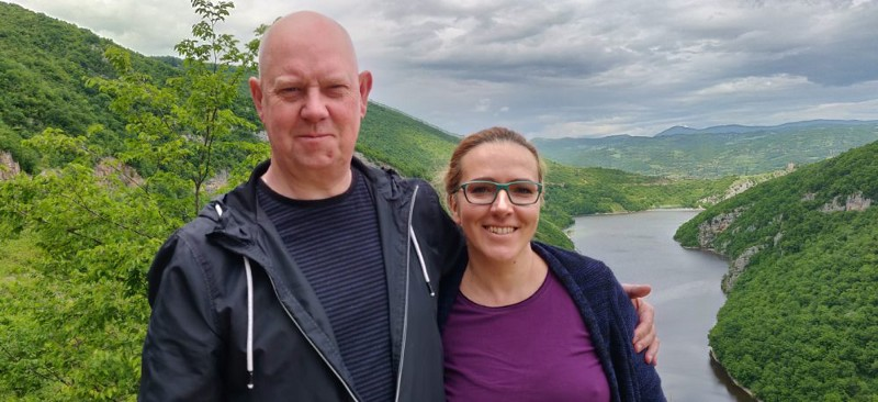 Tamara Pejcinovic and Trevor near the River Vrbas