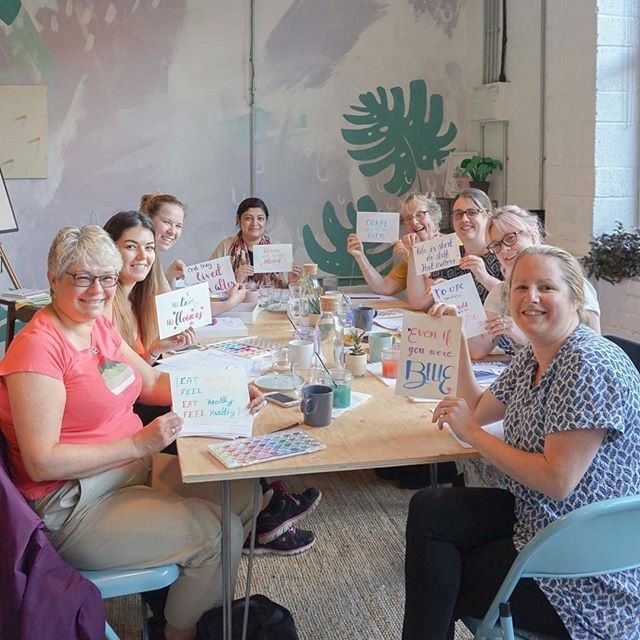 Look how gorgeous our watercolour workshop was! Don't feel left out, @phylecia_sutherland has a bunch of upcoming events you can book on to. .  Want to hold a workshop, talk, club or class at The Greenhouse? Get in touch, we'd love to hear from you.  #discovermeanwood #coworking #coworkingspace #coworkingspaces #sharedworkspace #flexible #workspace #office #work #wework #meanwood #independentleeds #smallbusiness #hotdesk #entrepreneur #creative #innovator #freelance #digital #futureofwork #leedslife #leeds678 #handlettering #watercolorbrushlettering #calligraphylove #moderncalligraphy #brushcalligraphy #craftisbest #leedspopup #meanwood #leedsevents