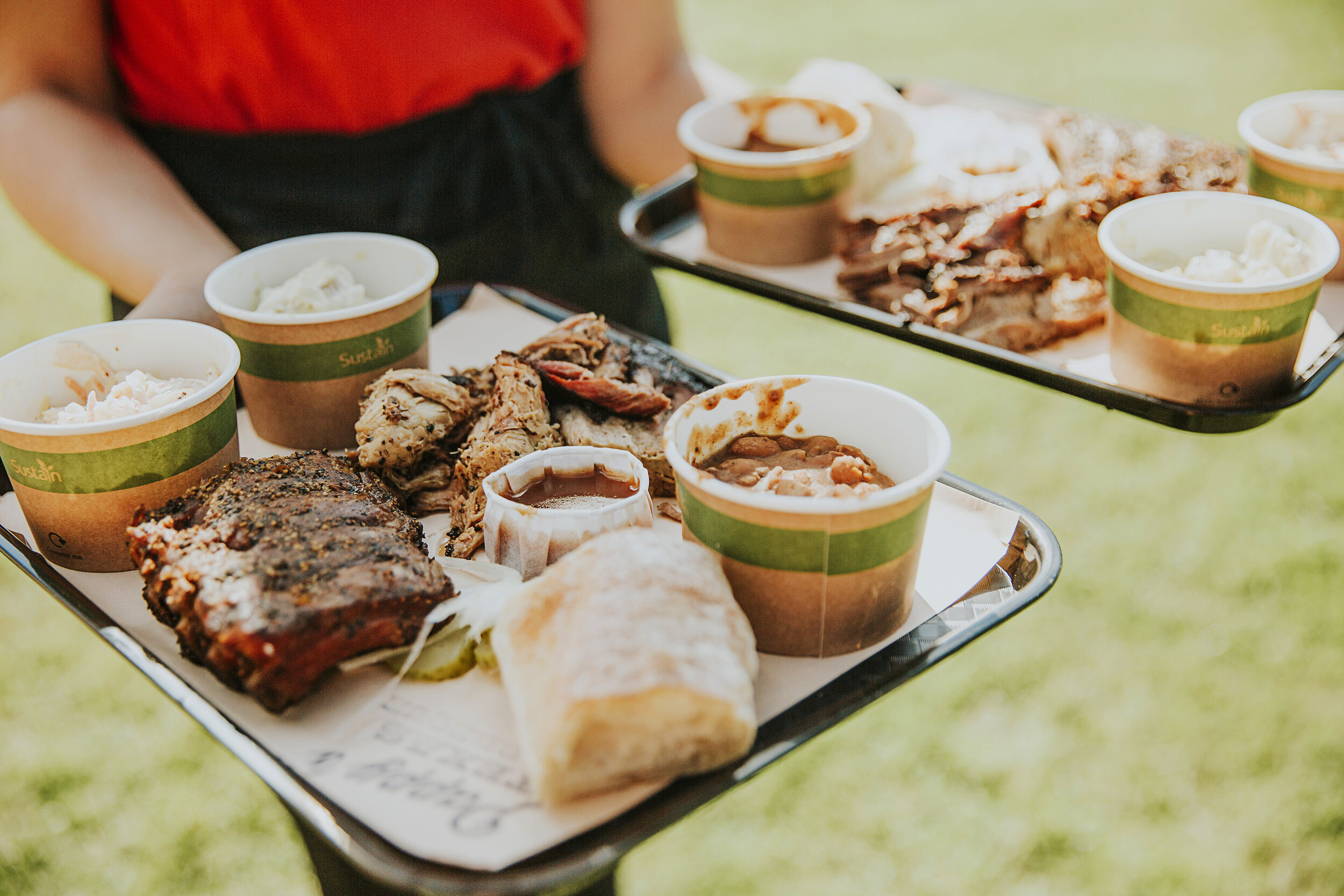 Our 3 meats, 3 sides platters ~  image courtesy of Penny Rose Photography