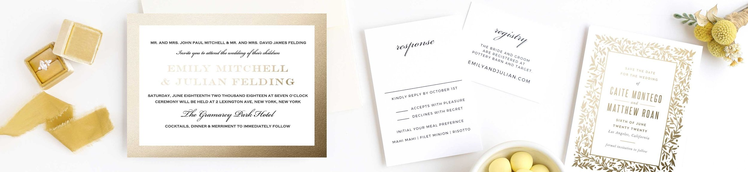 FOIL INVITATIONS - FLAT FOIL OR RAISED FOIL IN ANY COLOR