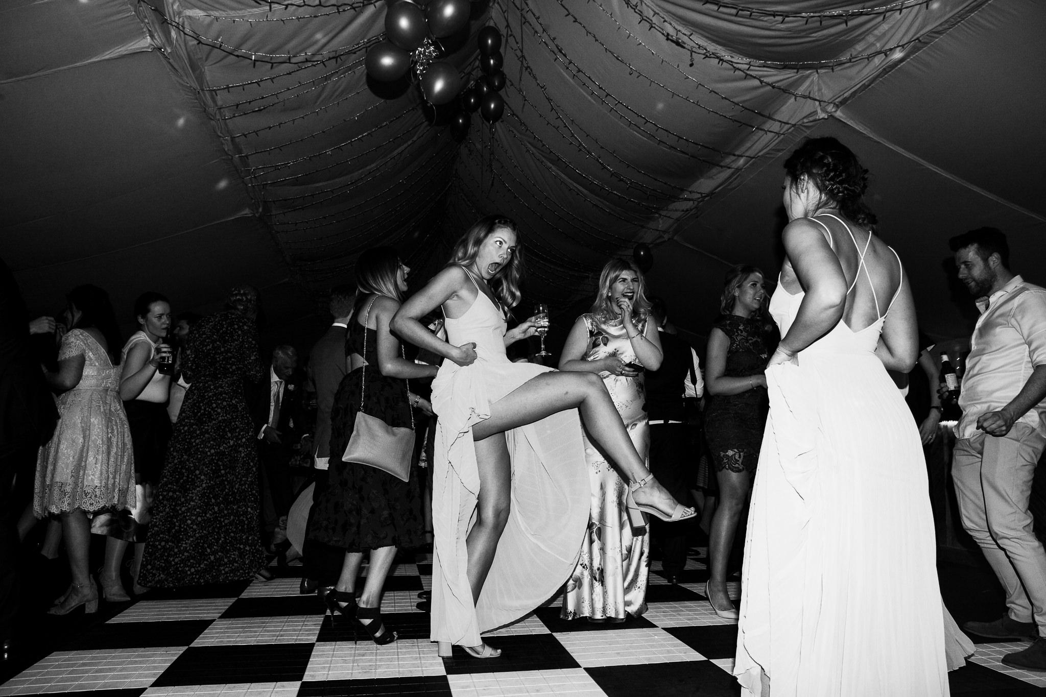 Bridesmaids dancing at a wedding