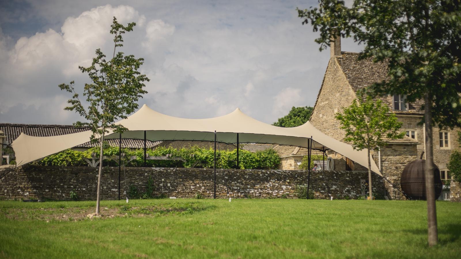 Poolside garden stretch tent, UK