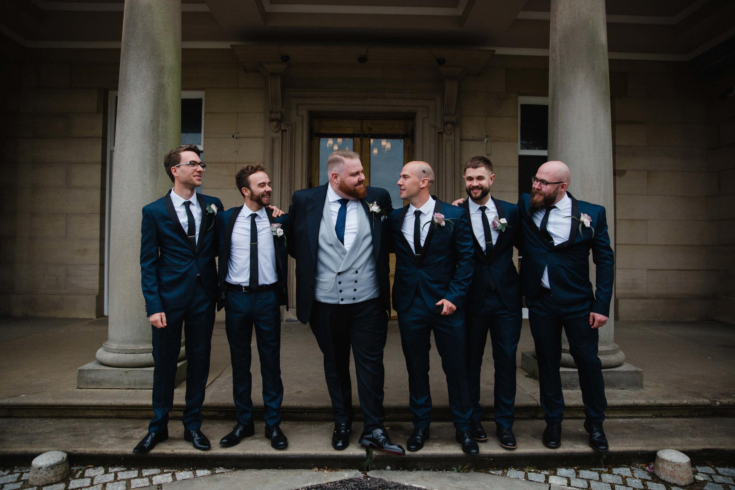 groomsmen portrait at haigh hall