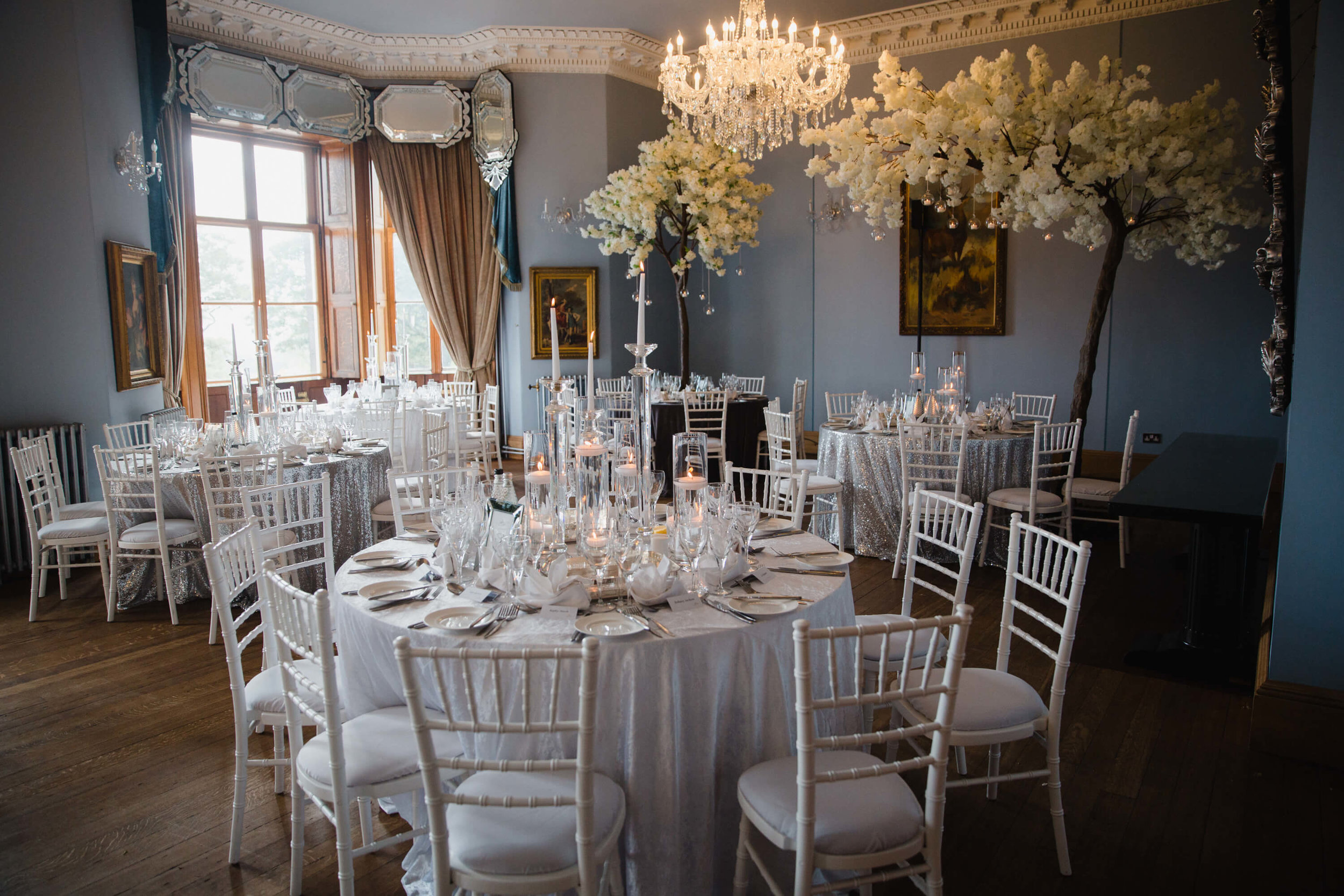 wedding breakfast set up by kelly louise floral artistry