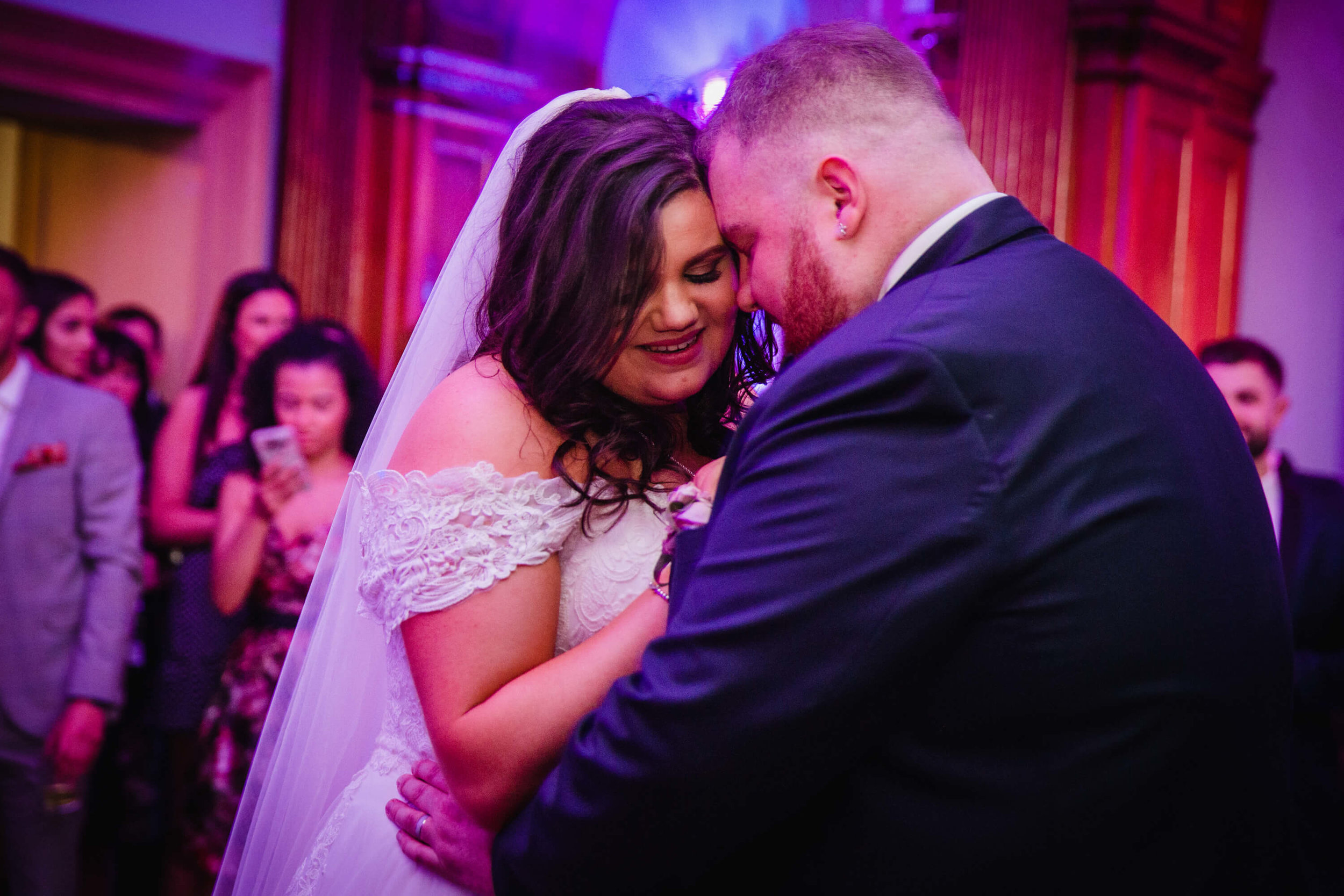 bride and groom sharing intimate moment during first dance