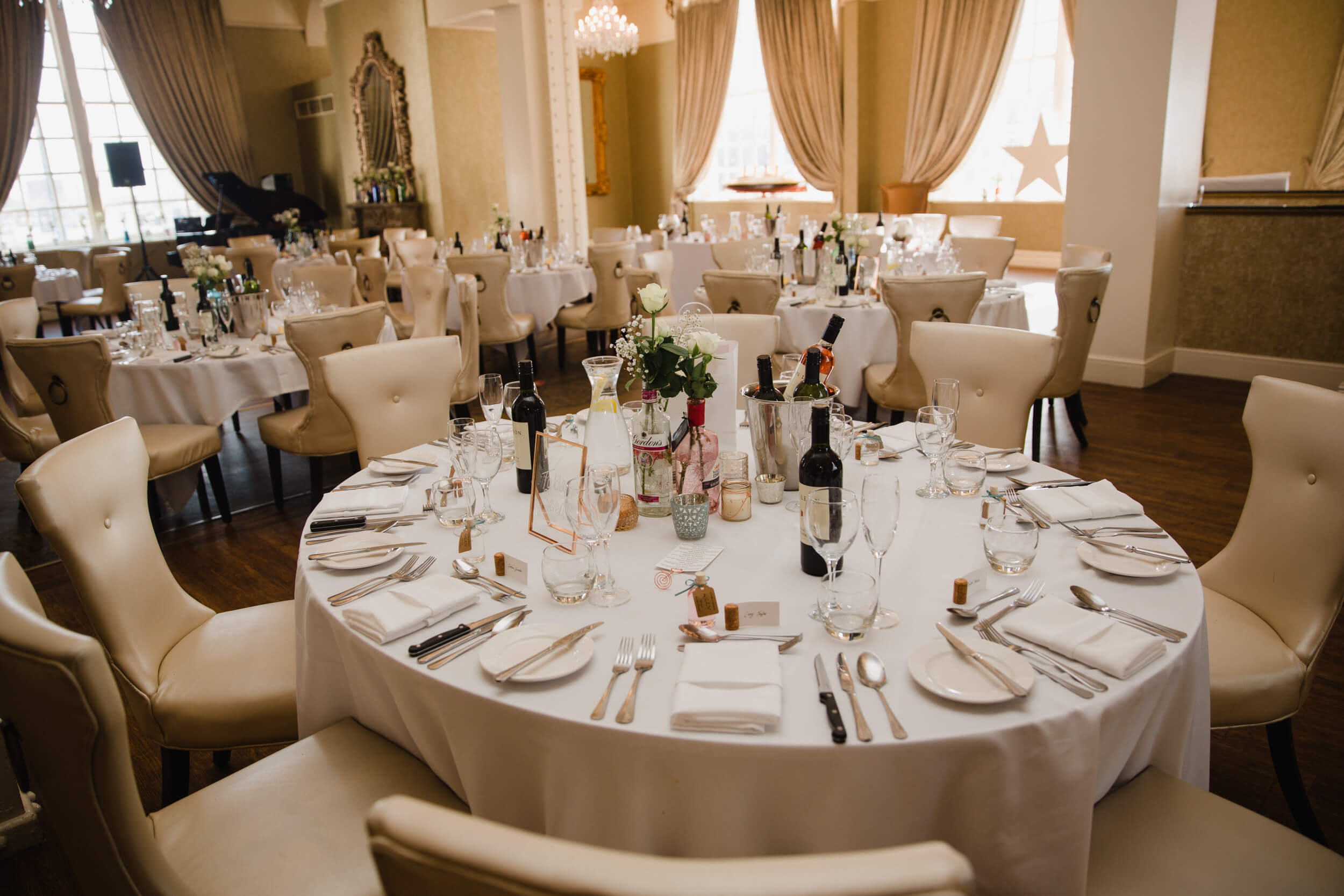 wide angle lens photograph of wedding breakfast setting