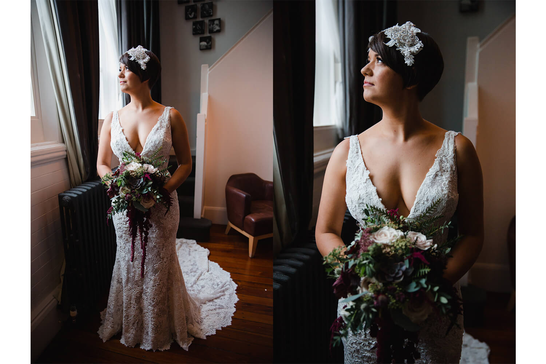 wedding portraits of bride in window holding bouquet of flowers before great john street hotel wedding ceremony