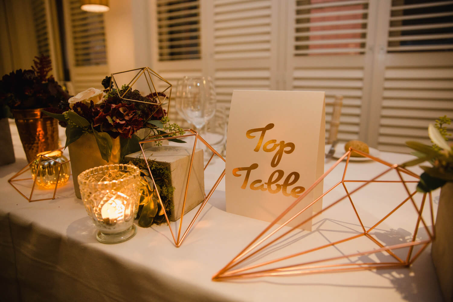 top table geometric design decorations for wedding breakfast