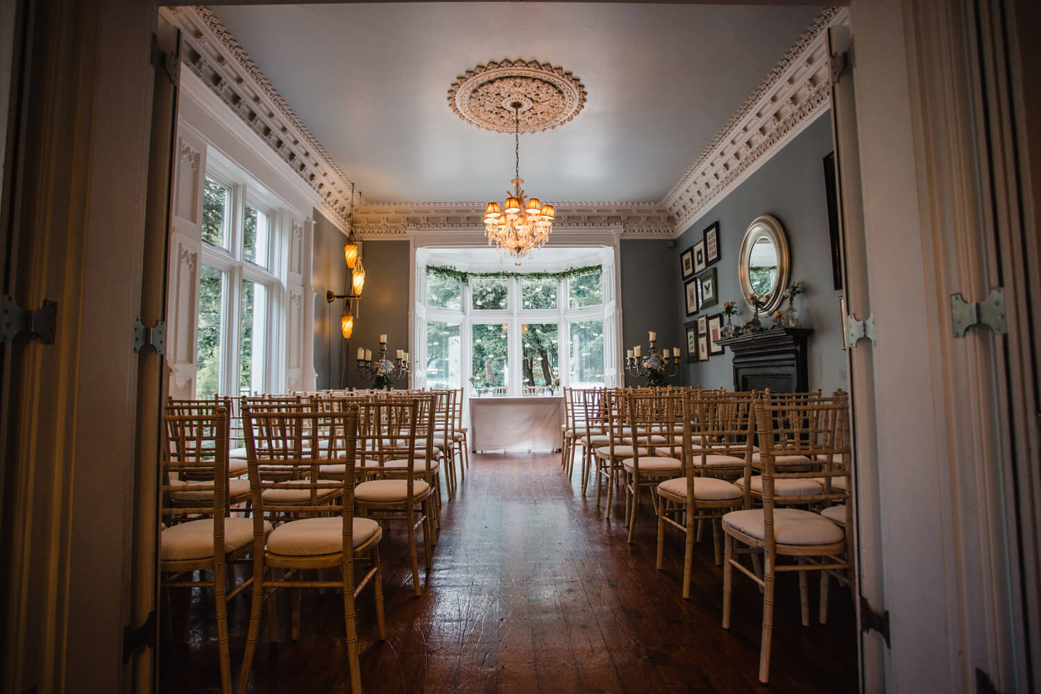 wide angle lens photograph of didsbury house hotel ceremony room