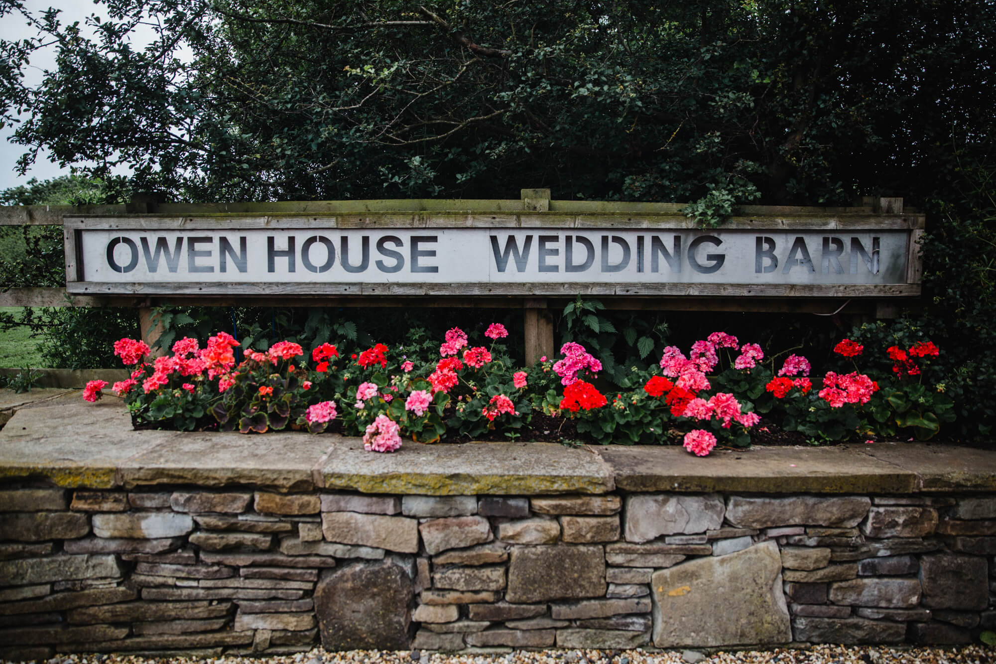 Owen House Wedding Barn door sign for venue