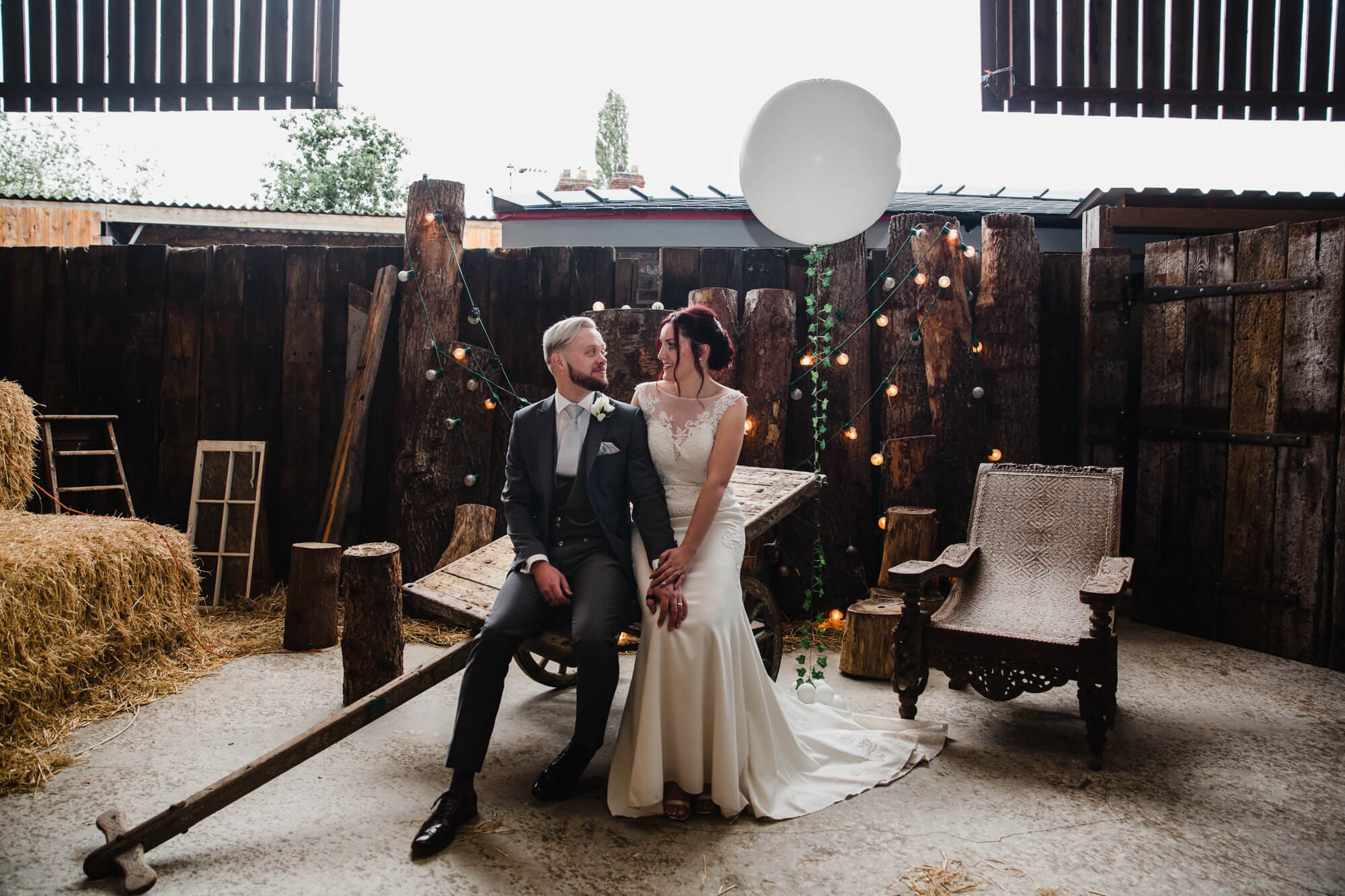 bride and groom share intimate portrait together at Owen House Wedding Barn