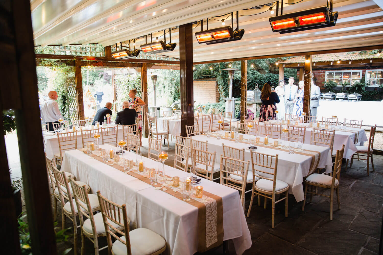 wide angle detail photograph of wedding breakfast set up at Eleven Didsbury Park