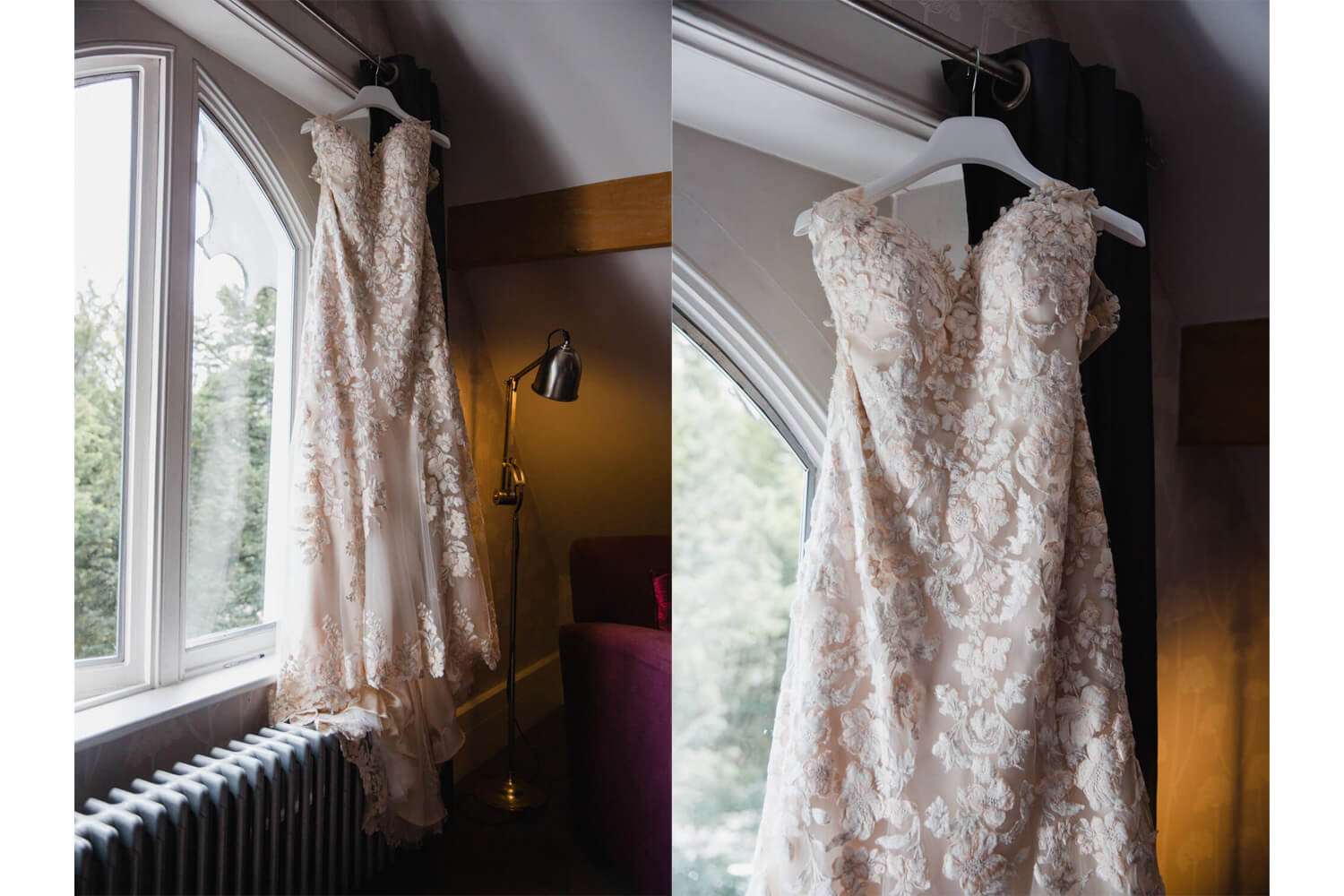 Photograph collage of wedding dress hanging in window in low light exposure