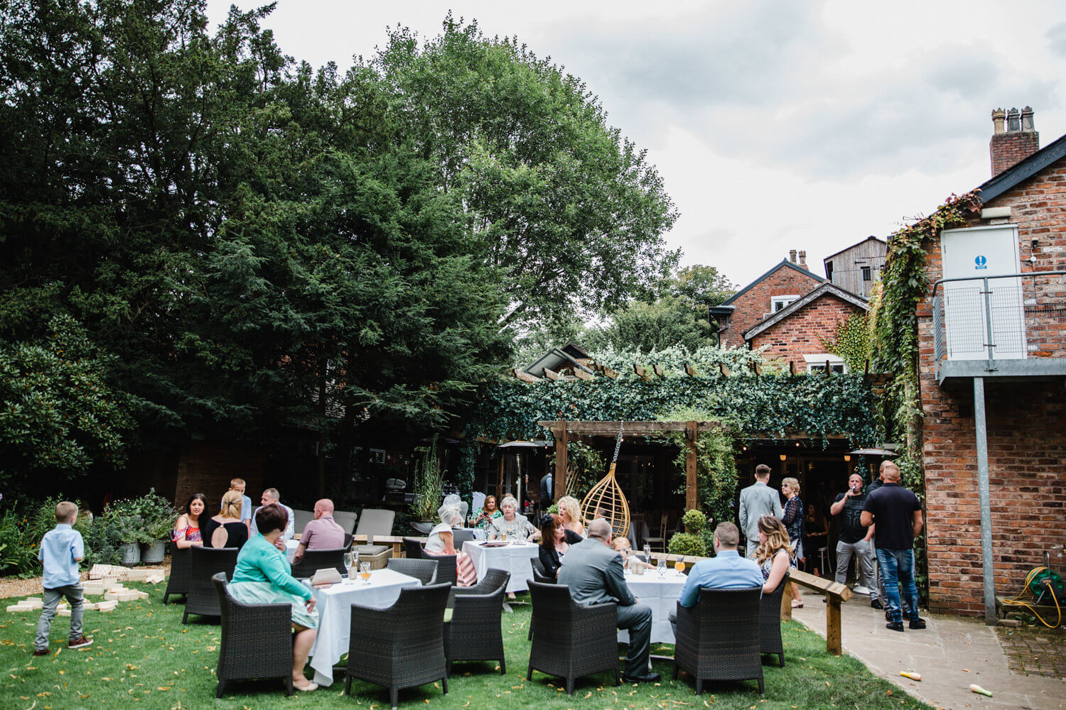 wide angle photograph of wedding reception at Eleven Didsbury Park