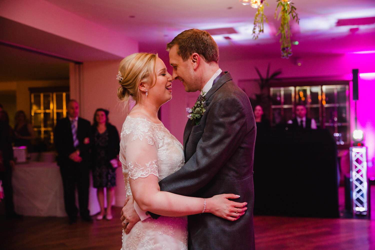 close up intimate photograph of newlyweds first dance together