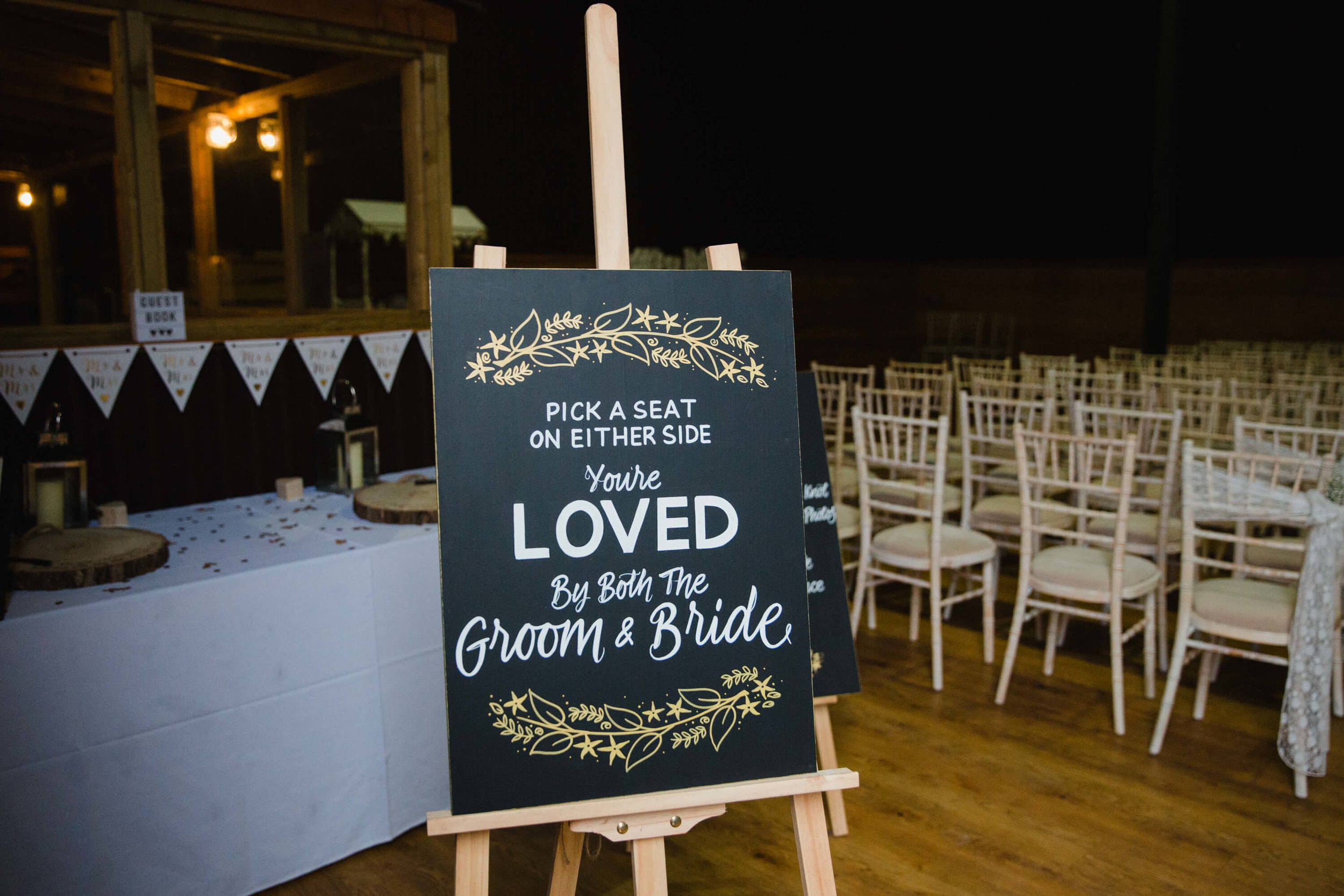 wedding inventory sign asking guests to share spaces