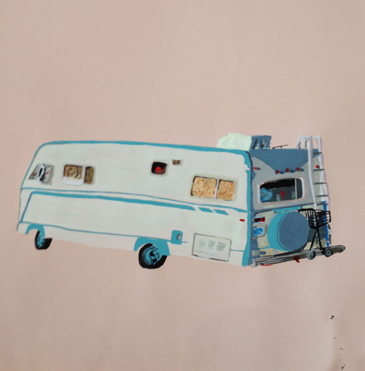 RV with flower curtains, Dogpatch