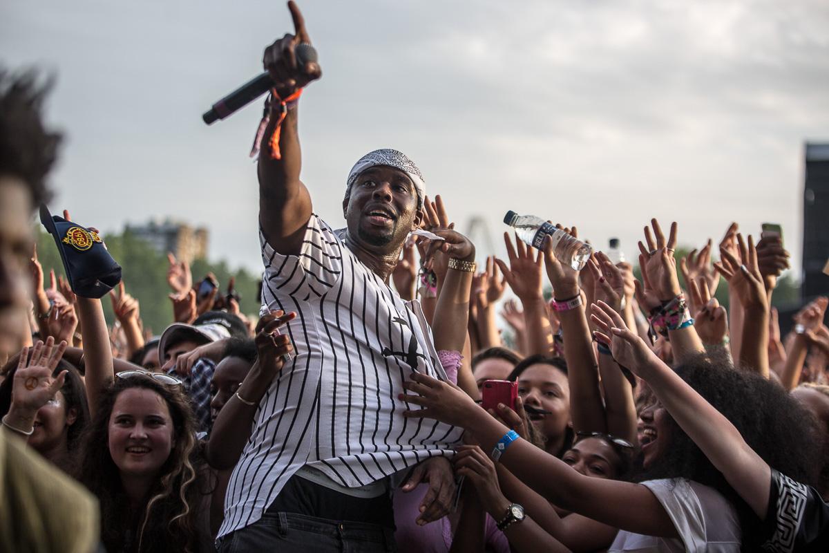 Artist in crowd at Lovebox festival