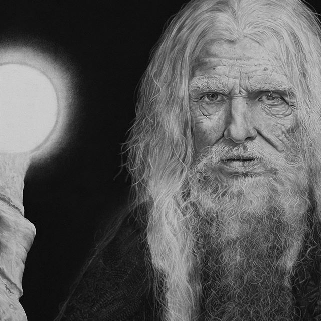 """Detail shots of """"The Hermit"""". Graphite and Charcoal. Stoked to be able to capture the details with the new camera lens. Hope you guys like the shots! 📸🧙🏼♂️🔮👁 . #charcoal #charcoaldrawing #charcoals #charcoalportrait #charcoalpencils #photorealistic #graphitedrawing #graphitepencils #graphiteportrait #graphitepencildrawing #artpencil #hyperrealism #haileybonia"""