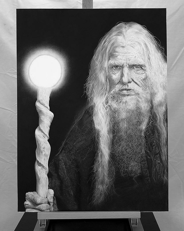 """""""The Hermit"""" (2019). Charcoal and Graphite on Bristol Paper. Six months and 200+ hours later, it's done!! It's somewhat surreal to see this piece completed, I learned SO much from it, by far the craziest thing I've ever done on the drawing board. Pushed myself to my limits and beyond. I am in love with the result, can't wait to bring it to it's new home. 👁🔮🌟✨ . #hyperrealism #hyperrealistic #charcoaldrawing #charcoalart #pencildrawing #photorealism #hyperrealisticart #detaildrawing #graphiteart #drawings #drawingmood #modernart #modernartist #mystaedtler #drawingsoftheday #graphitepencils #graphitedrawing #artprocess #finishedartwork #photorealisticart #photorealismart #duende_arts_help #artsrealism #artinsp"""
