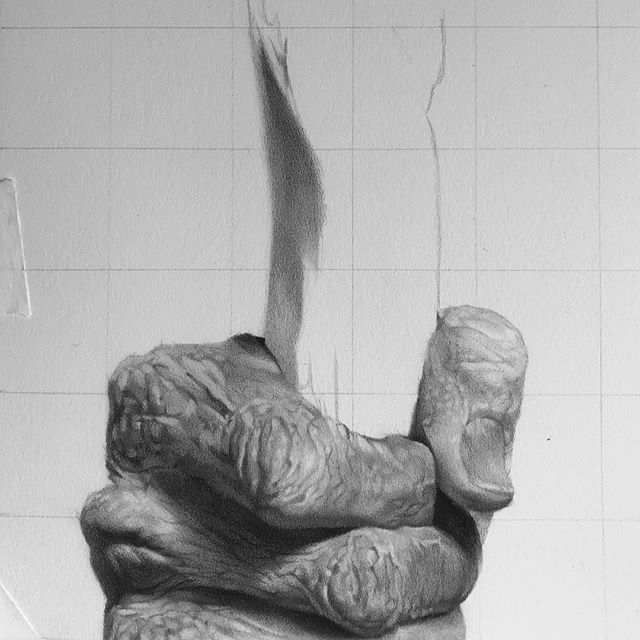 """Completed hand from """"The Hermit"""". About 20 hours of work. There is a certain quality to drawing and interpreting hands that has always intrigued me. Hands, like the face and facial features, are unique in character to each individual. They tell stories in their skin that evolve over time. Often times you can tell more about who a person truly is by looking at their hands rather than their face! Food for thought on this Sunday Morning. ✋🏼✋🏼✋🏼Graphite & Charcoal on Vellum Bristol Paper. . . #hyperrealism #hyperrealistic #tarotart #hyperrealisticart #mystaedtler #drawingsoftheday #graphitepencils #graphitedrawing #detaildrawing #tarotcards #spiritualart #artprocess #top_drawings_art #photorealisticart #photorealismart #duende_arts_help #artsrealism #artinsp #worldofpencils"""