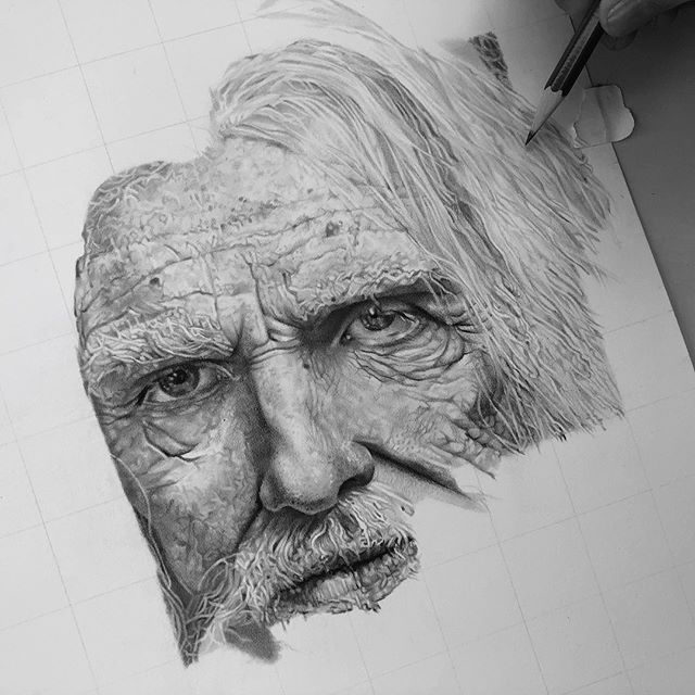 """Hi Insta, here's a much needed update post of this wrinkly fellow who's finally taking shape.☺️ (caution long post) I keep taking mini breaks from Instagram for mental health reasons. Whenever I find myself looking towards my likes or follower count for validation of my skills or artistic self worth after posting I know that it's time for some serious self reflection and reconsideration of what this platform is really for. Too often I get caught up on """"growing"""" this page, instead of embracing what I have already built and being grateful for it and the opportunity that Instagram gives my art. My perception on manifesting off this app has changed a lot, ultimately it's not about the hashtags you use, or who you tag, but the quality of what you post. I used to get anxiety because work process is rather slow so I don't post update pictures as often as some other art accounts (when your average piece takes between 40-100 hours to complete it's hard to work quickly without jeopardizing the quality of your work)! Too focused on pleasing the mass population, instead of pleasing my own soul as an artist. And not to mention photographing hyperrealism drawings correctly...it can't be half-assed for the detail! So, the point of all this is I guess to release my limiting beliefs of myself as an artist on Instagram, embrace what I have now, and create because I love to create! Also to establish my voice as an artist. Not because I'm feigning for a like or a sponsorship, good things come to those whose intentions are in the right place! No more likes over love bullshit. Here's to a new relationship, Instagram. Love to love ya 🙌🏼🤟🏼❤️😉 thanks for reading if you did. . . . #graphitedrawing #pencildrawing #hyperrealistic #hyperrealisticart #photorealism #graphitepencils #graphitepencildrawing #portraitdrawings"""