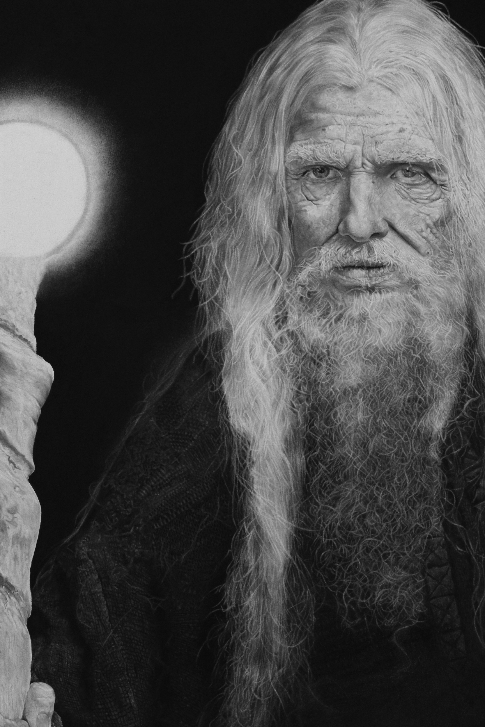 """The Hermit"" - 18"" x 24"". Graphite and Charcoal. (2019).Interpretation of the sacred tarot card ""The Hermit"". He visually and subjectively represents the lifelong journey of attaining inner wisdom, finding the light within through the acceptance of and immersion in periods of solitude and reflection."