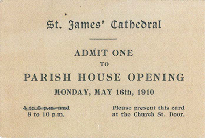 Ticket to the Parish House opening from May 1910.