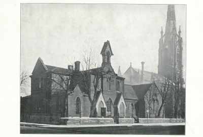 Full view of the School House. Built in 1855 and demolished for the building of the Parish House in 1909. Architect: Frederick Cumberland.