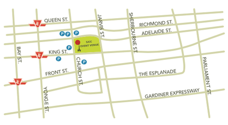 SJCC Event Venue is located at 65 Church St. situated just north of St. James Cathedral, at the south east corner of Adelaide St. East and Church St. Entrances are located from Church St. or from the south side of the Venue under the glass canopy (this entrance is wheelchair accessible).