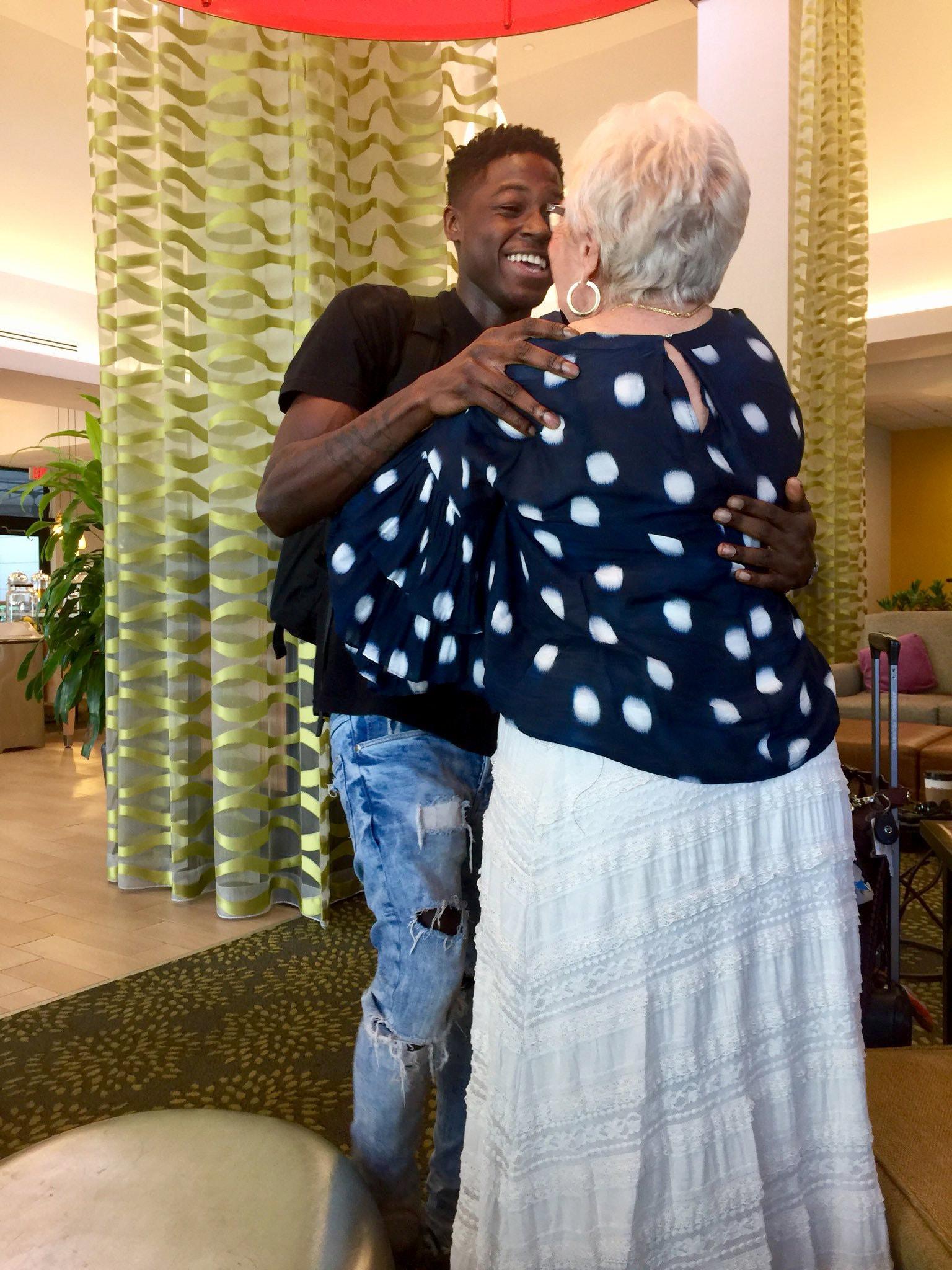 Spencer Sleyon meeting his online friend Rosalind Guttman in Florida last weekend. (Photo Rev. Amy Butler)