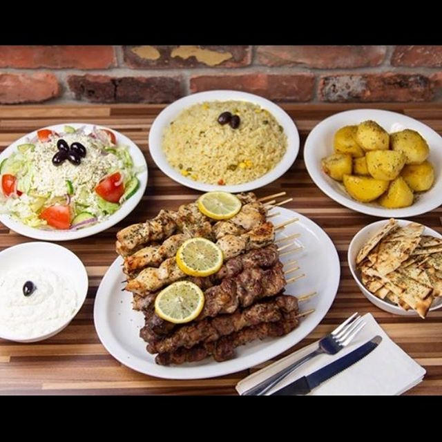 Our 16 Half Feast with 8 Chicken, 8 Pork. With your choice of 3 sides such as our delicious Roasted Lemon Potatoes, Fresh Rice, Seasoned French Fries (You may upgrade to Greek Fries), Greek Salad, along with 12oz of our Homemade Tzatziki prepared daily, & Toasted Pita! #foodiesofinstagram #Ajax #thegreekfreakajax