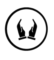 black and white praying hands icon in a circle.png