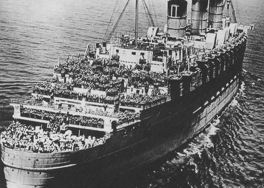 Queen Mary transporting troops to Europe during World War II