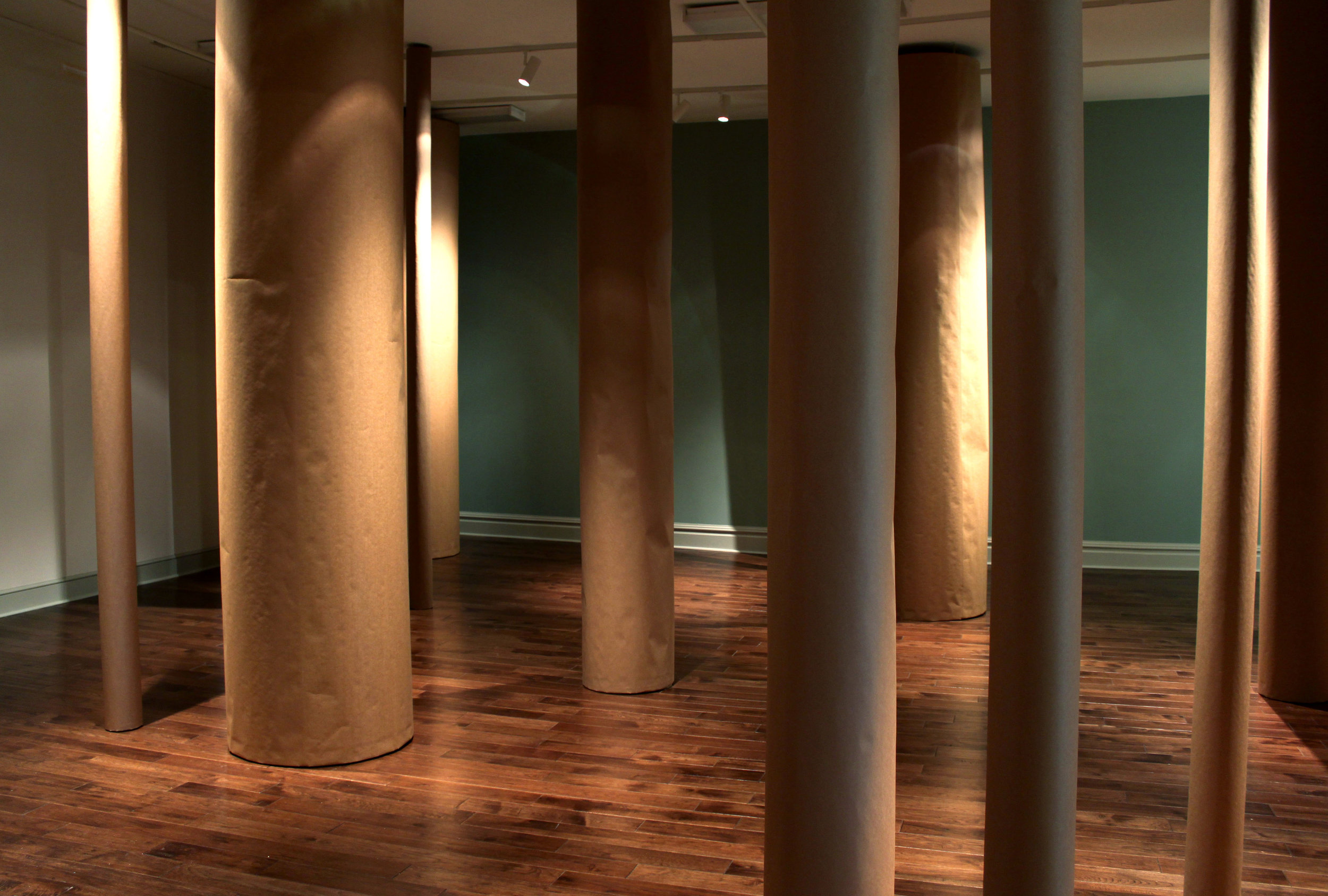 Paper Forest  / 2011 / Kraft paper, burlap, wood shavings / 12' x 33' x 40'