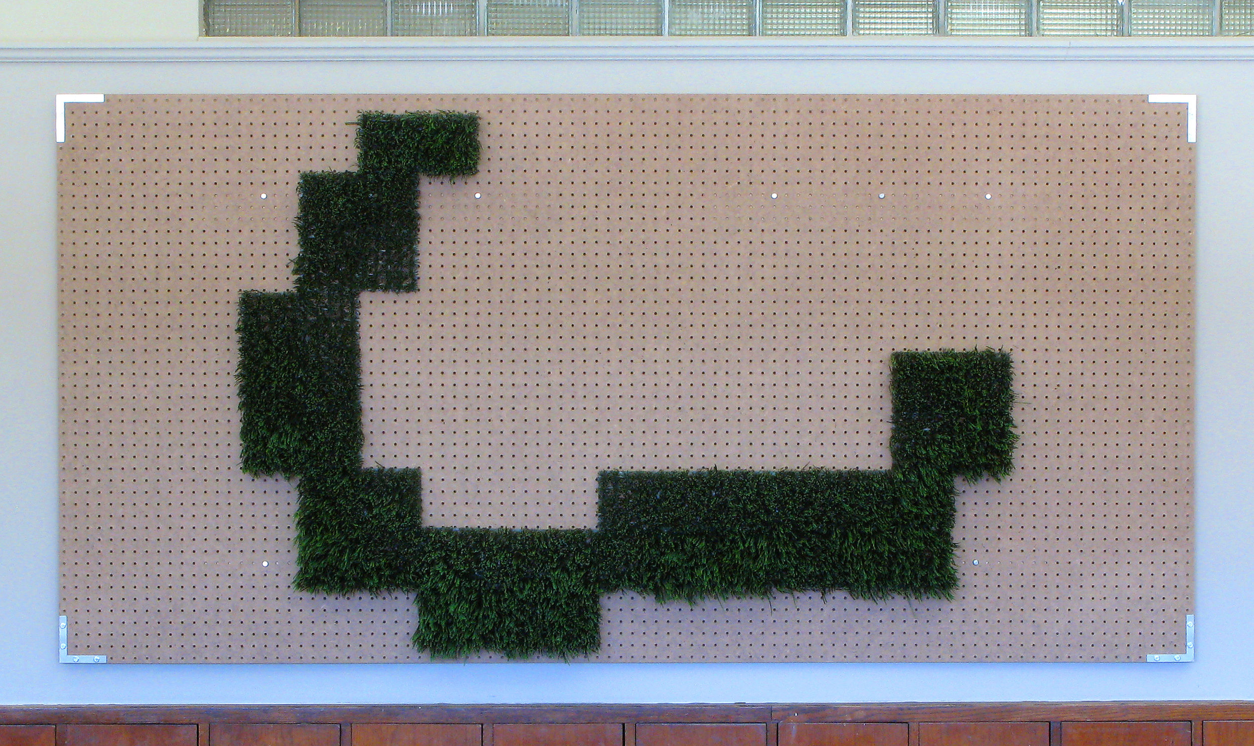 "Artificial Relief  / 2008 / Artificial grass, peg-board, hardware / 48"" x 96"" x 3"""