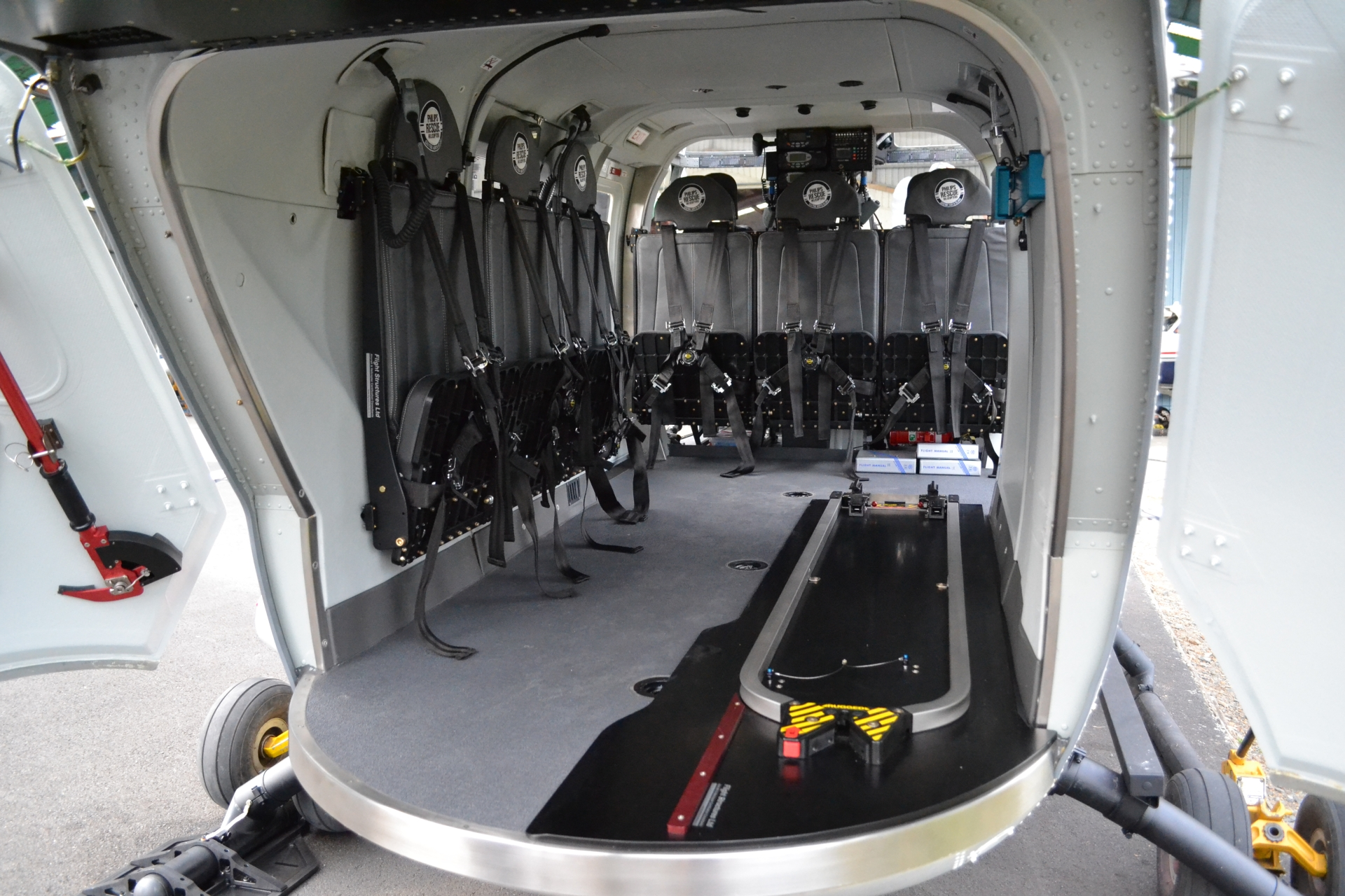 High Density BK117 Seating   Flight Structures has developed high density Cabin Seating specifically for the BK117. With seat fittings hard-pointed onto the cabin wall, the space beneath is clear to be used for medical or search and rescue equipment. The seats are removable so the helicopter can be reconfigured as required.   Key Features:   The seat can be configured in 3, 6 or 9 pax installations  Soft comfortable cushioning;  Compatible with stretcher installation;  Lightweight construction