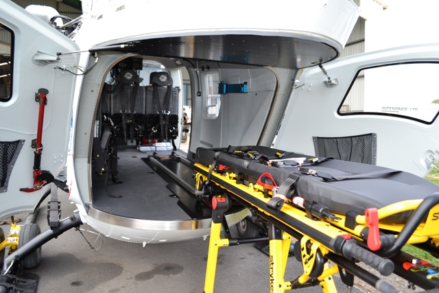 Stretcher Loading System   The Flight Structures Stryker compatible system allows quick and simple transfer in and out of the helicopter.