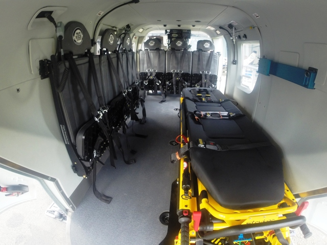 High Density Seating   Flight Structures has developed high density Cabin Seating specifically for the BK117. With seat fittings hard-pointed onto the cabin wall, the space beneath is clear to be used for medical or search and rescue equipment. The seats are removable so the helicopter can be reconfigured as required.